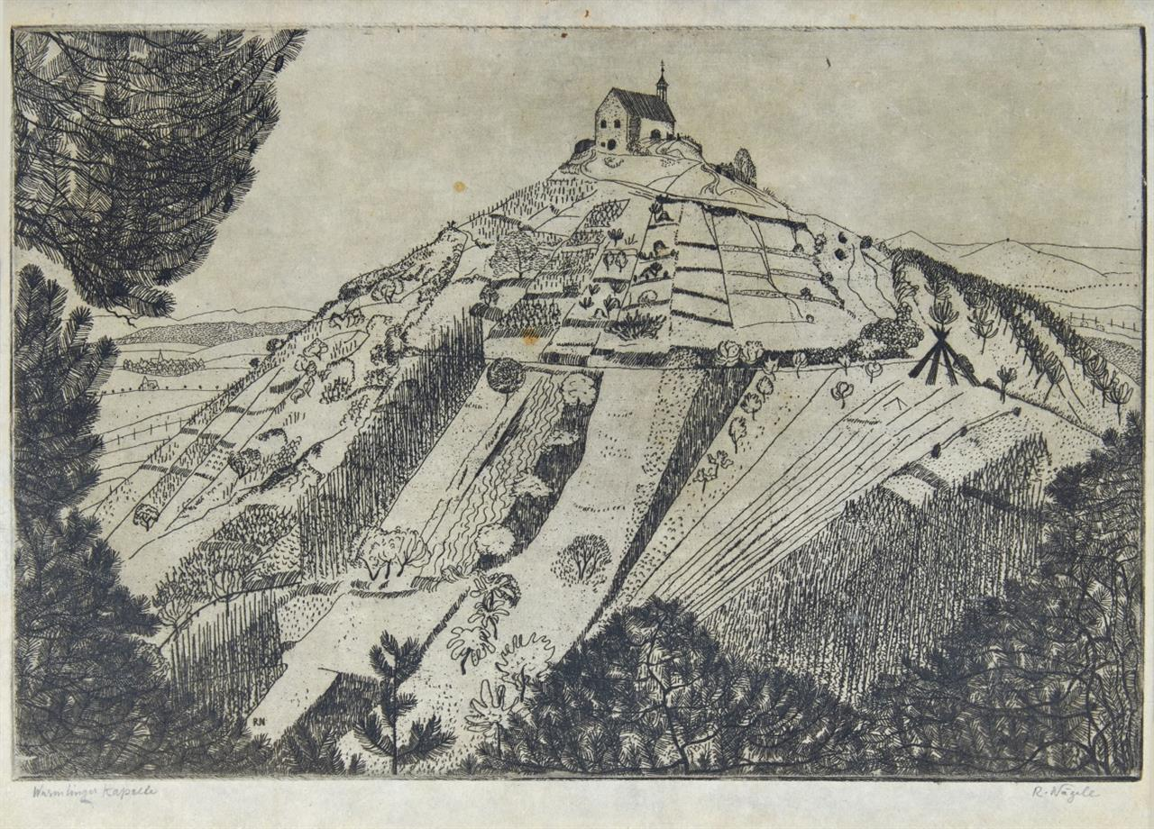 Reinhold Nägele. Wurmlinger Kapelle. 1912. Radierung. Signiert.