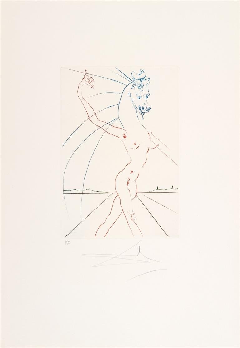 Salvador Dali. Hippofemme (aus: Femmes et Chevaux). 1973. 2 Exemplare der Farb-Kaltnadelradierung. Signiert. Beide Ex. E.A.