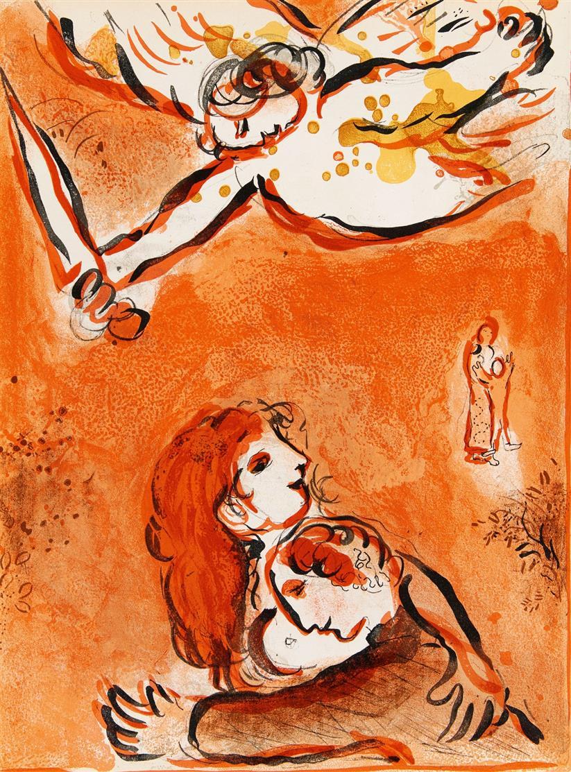 Marc Chagall. Aus: Dessins pour la Bible (Verve 37/38). 1960. 10 Blatt Farblithographien. Cramer aus 42.
