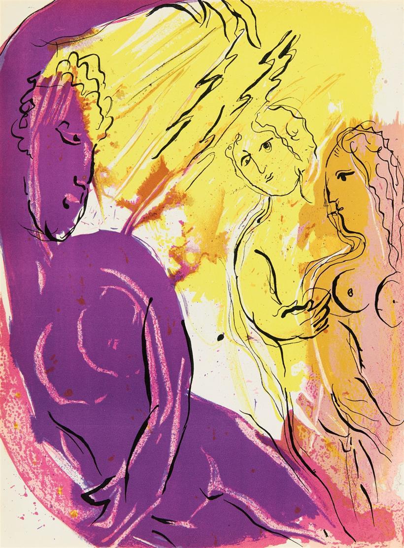 Marc Chagall. Aus: La Bible (Verve 33/34). 1956. 6 Blatt Farblithographien. Cramer aus 25.