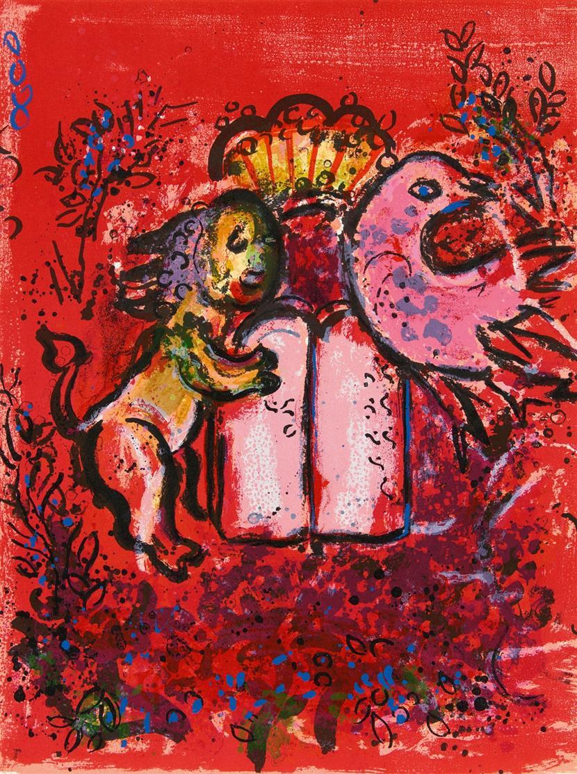 Marc Chagall. Aus: Vitraux pour Jérusalem. 1962. 2 Blatt Farblithographien. Cramer aus 49.