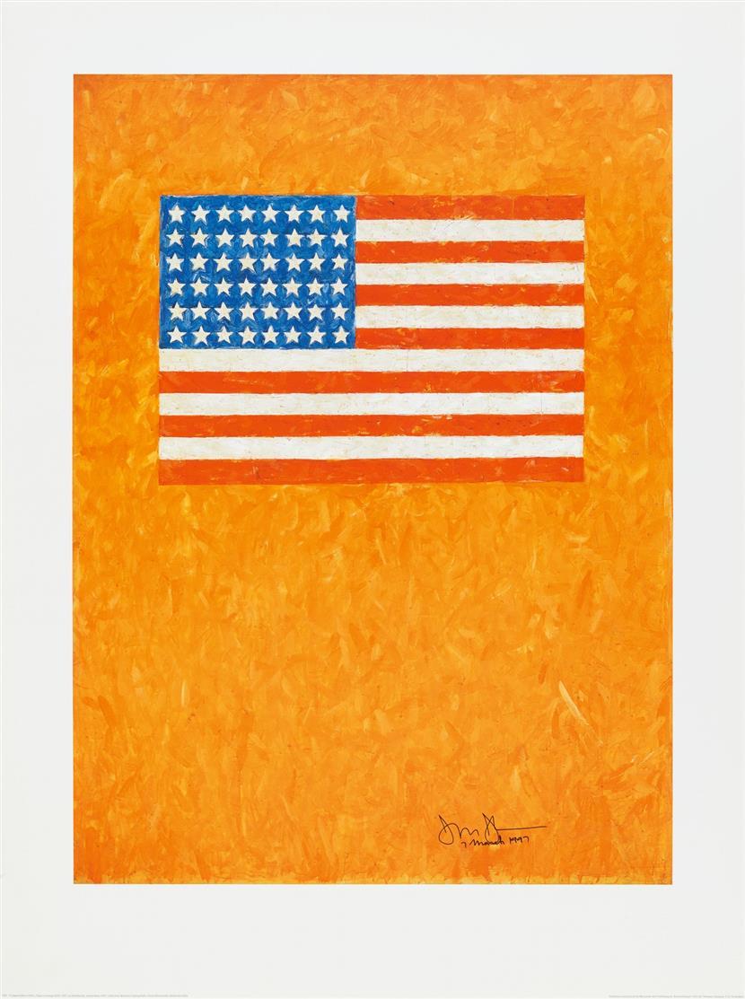 Jasper Johns. Flag on Orange. 1997. Plakatdruck. Signiert.