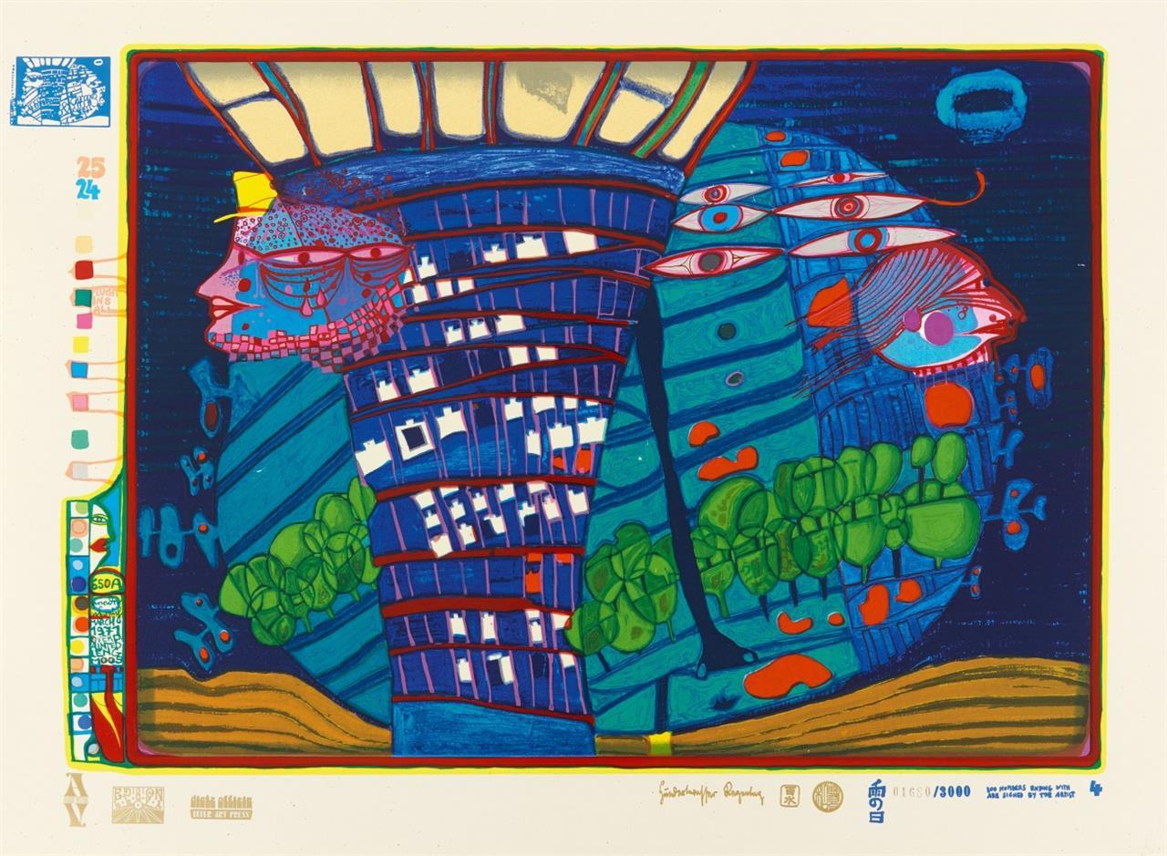 Friedensreich Hundertwasser. Look at it on a rainy day (Regentag). 1971/72. Holzkassette mit 10 Blatt Farbserigraphien. Signiert. Ex. 1680/3000 bzw. Ex. 168/300.