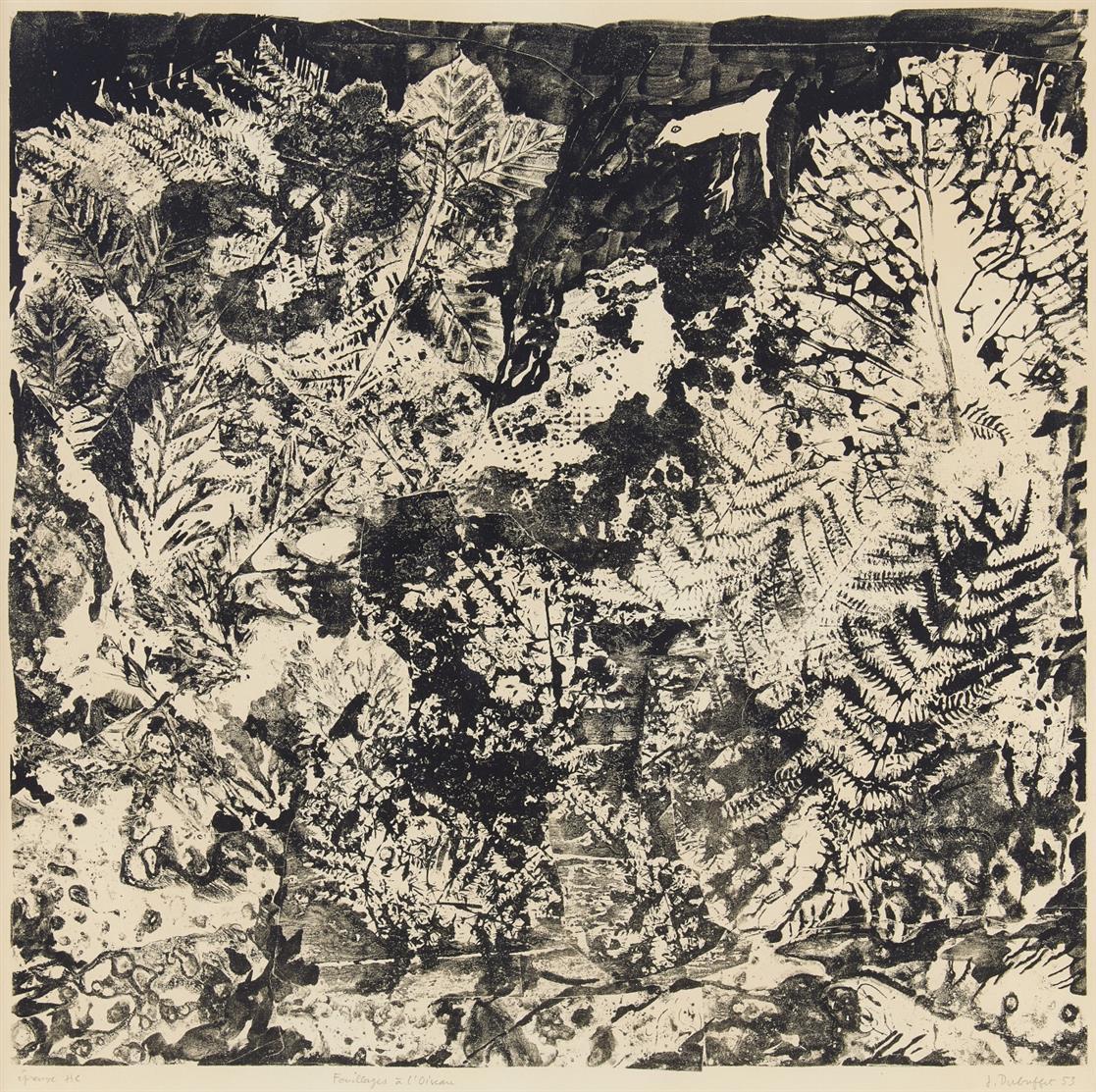Jean Dubuffet. Feuillages à l'oiseau. 1953. Lithographie. Signiert. Ex. H. C.