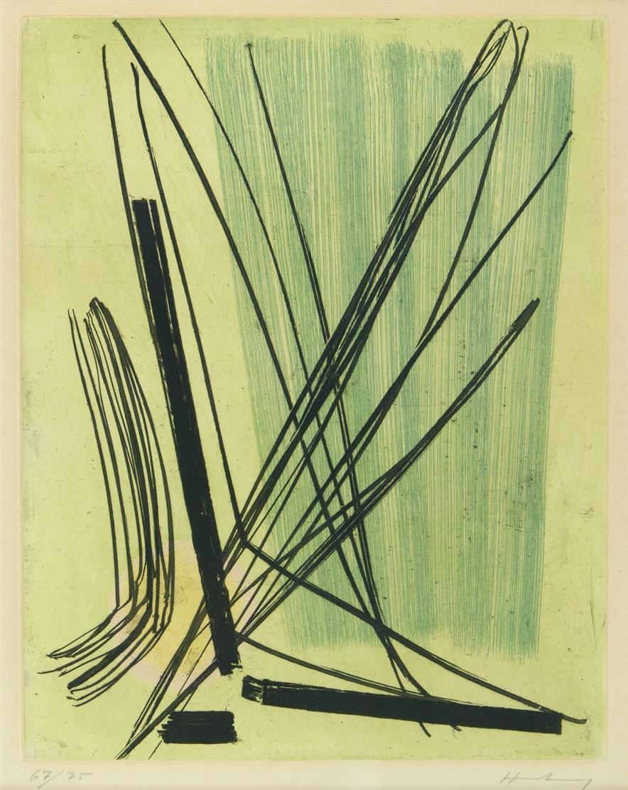 Hans Hartung. R 7. 1953. Farbradierung. Signiert. Ex. 67/75. Schmücking 36.