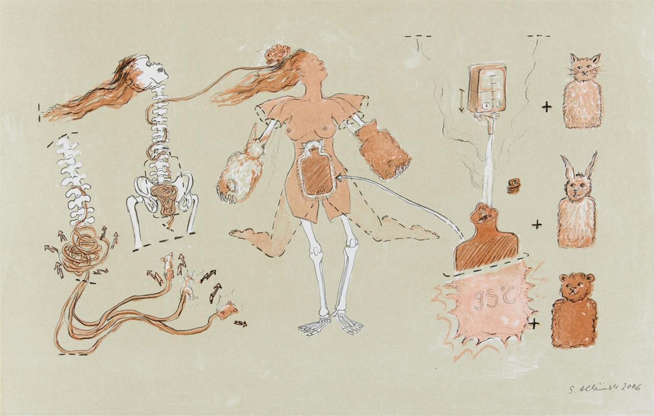 Sonja Alhäuser. Knisterwerk / Warme Wonne / Pure Liebe. 2006. 3 Blatt Farblithographien. Signiert.