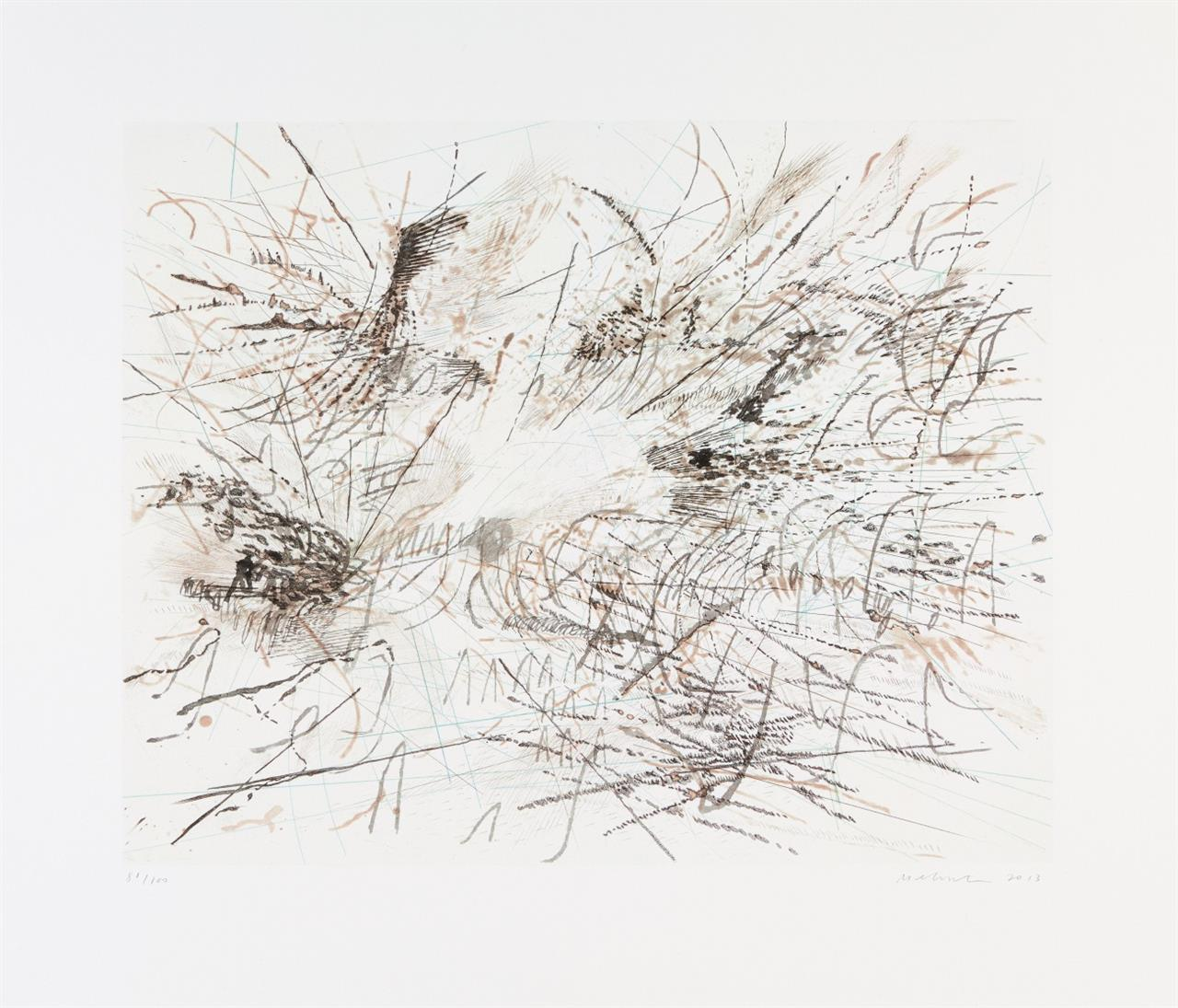 Julie Mehretu. Untitled (Pulse). 2013. Farblithographie. Signiert. Ex. 80/100.