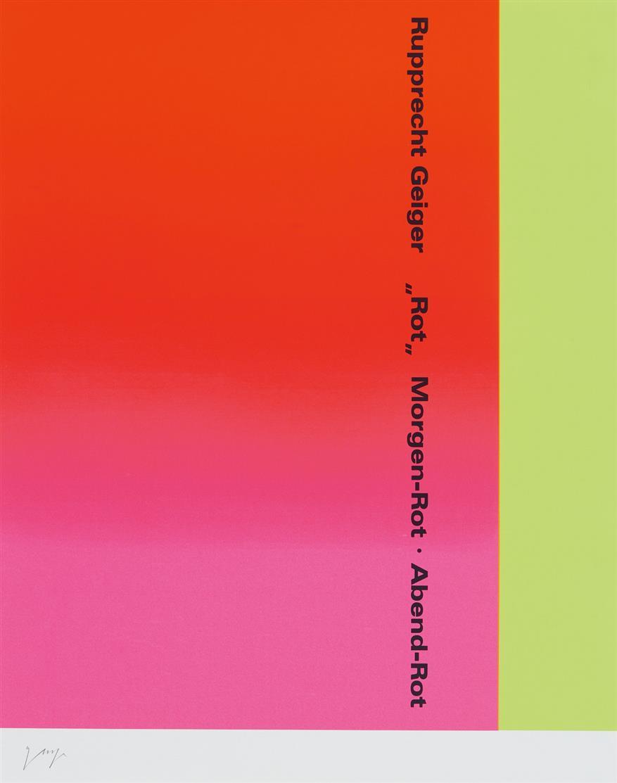 """Rupprecht Geiger. """"Rot"""" Morgen-Rot. Abend-Rot. 2000. Farbserigraphie. Signiert. Eines v. 240 Ex. der VA. WVG S. 214."""