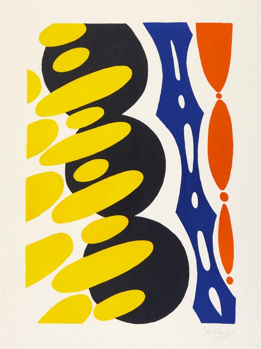 Ernst Wilhelm Nay. Rhythmen und Kadenzen. Plakat Musikfestspiele Donaueschingen. 1967. Farblithographie. Signiert.