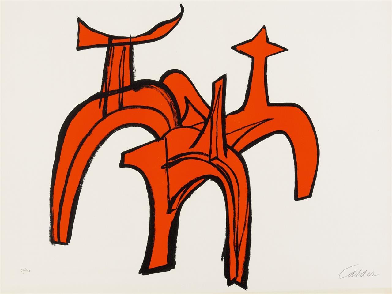Alexander Calder. Rote Reiterstudie. 1973. Lithographie in Rot und Schwarz. Signiert. Ex. 26/150.