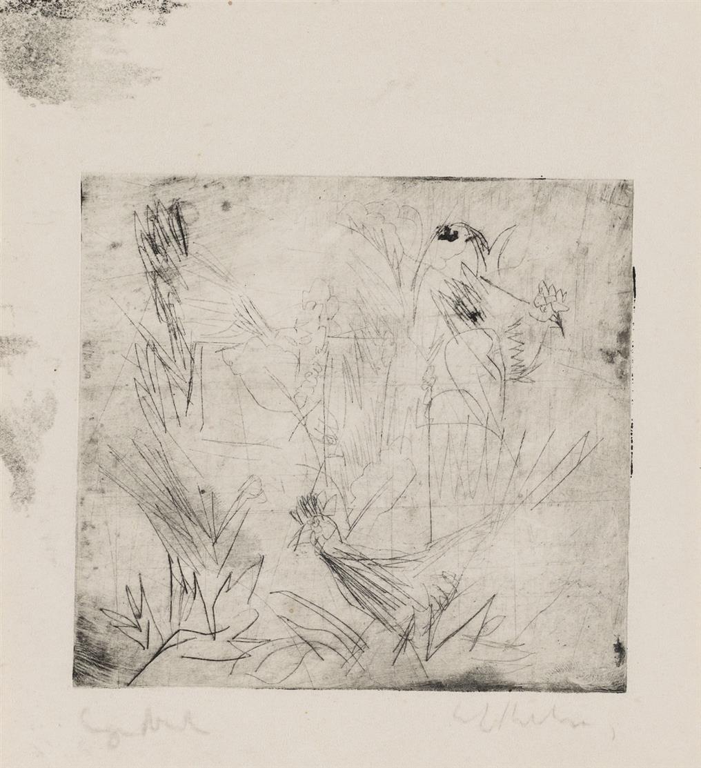 Ernst Ludwig Kichner. Hühner im Grase (unvollendet). 1918. Kaltnadelradierung. Signiert. Dube R 232.
