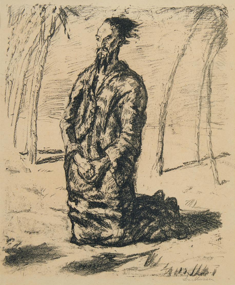 Max Beckmann. Christus in der Wüste (Große Figur). 1911 (1917). Lithographie. Signiert. Eines von 40 Ex. Hofmaier 18 B b.