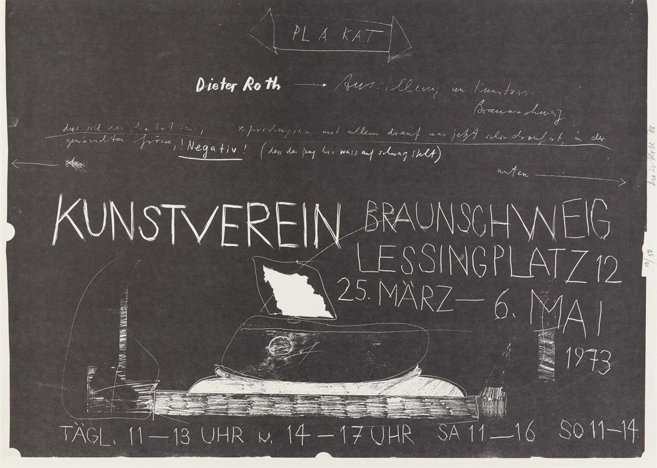 Dieter Roth. Plakat Kunstverein Braunschweig. 1973. Lithographie. Signiert. Ex. 10/50.