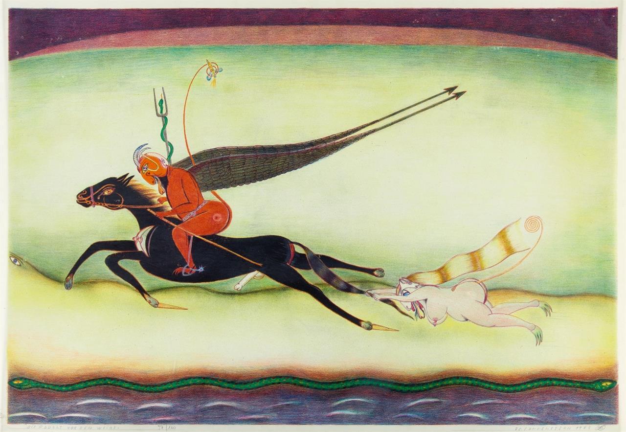 Friedrich Schroeder-Sonnenstern. Die Flucht vor dem Weibe. 1973. Farblithographie. Signiert. Ex. 97/100.