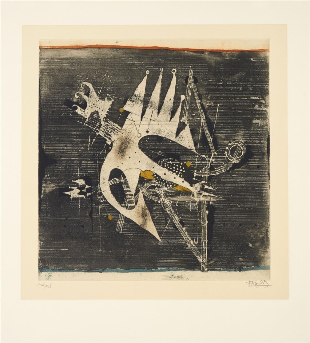 Johnny Friedlaender. Vol d'Oiseaux. 1972. Kassette mit Textbogen und 7 Blatt Farbaquatintaradierungen. Signiert. Ex. 120/135.