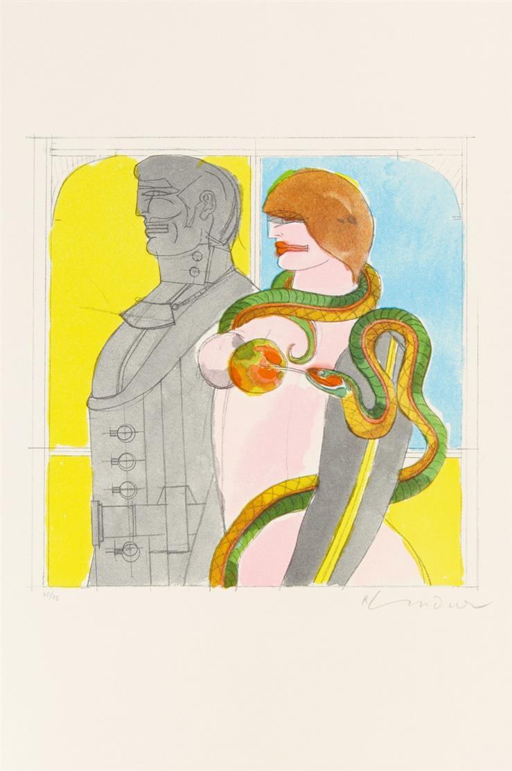 Richard Lindner. Ohne Titel. (1971). 3 Blatt Farblithographie. Je signiert.