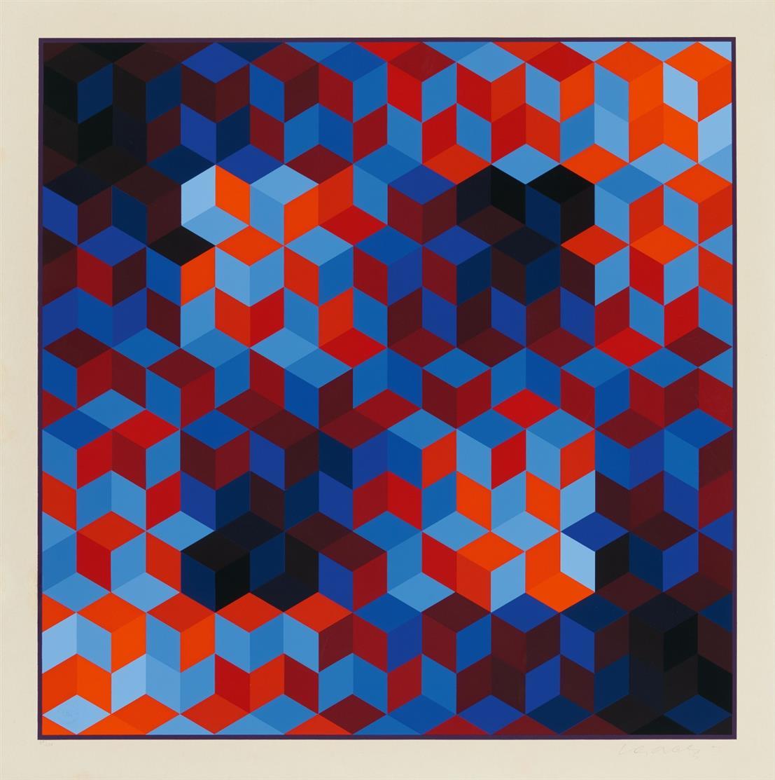 Victor Vasarely. Ohne Titel. Farbserigraphie. Signiert. Ex. 49/200.