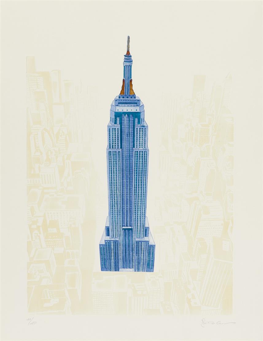Joseph Robers. Manhattan. 4 Blatt Farbaquatintaradierung mit Prägedruck, Je signiert. Verschied. Auflagen.
