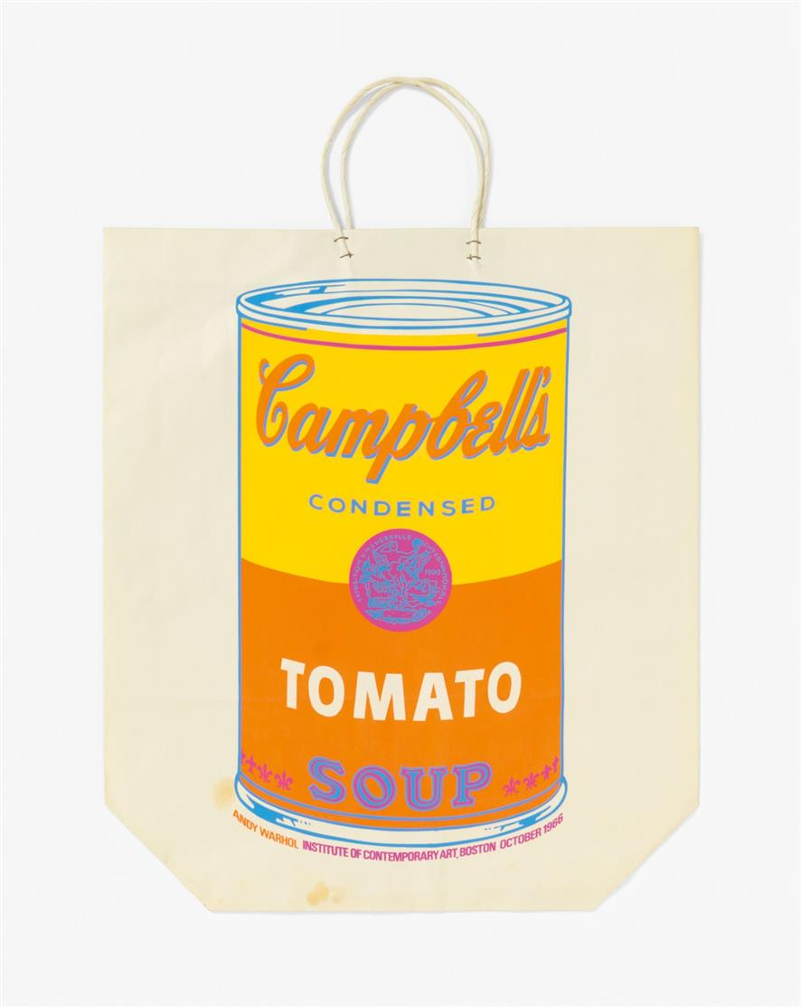 Andy Warhol. Campbell's Soup can on shopping bag. 1966. Farbserigraphie auf Tragetasche. F./S. 4 A
