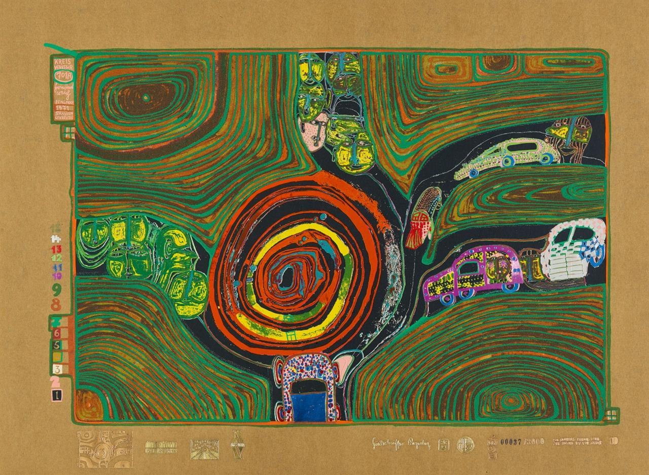 Friedensreich Hundertwasser. Kreisverkehr der Straßengekreuzigten (aus: Regentag). 1971/72. Farbserigraphie. Ex. 37/3000. K. 53.