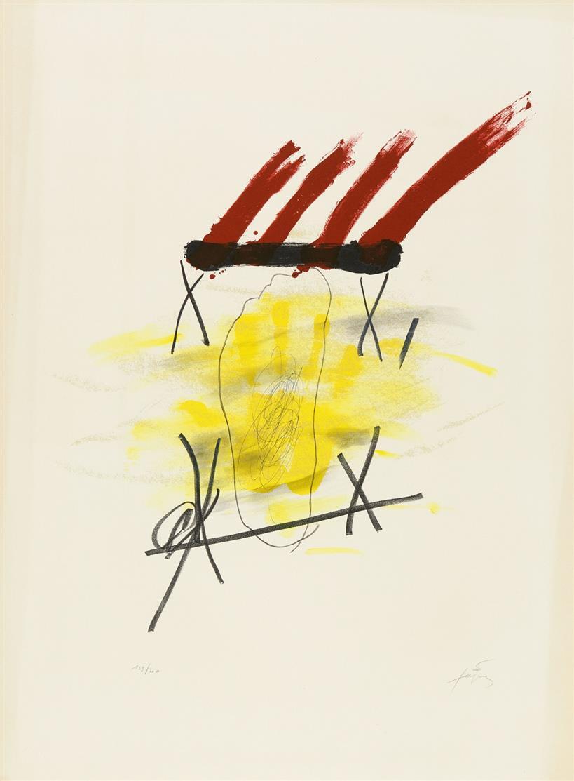 Antoni Tàpies, La main jaune, 1973. Farblithographie, Signiert. Ex. 159/ 200, G. 347