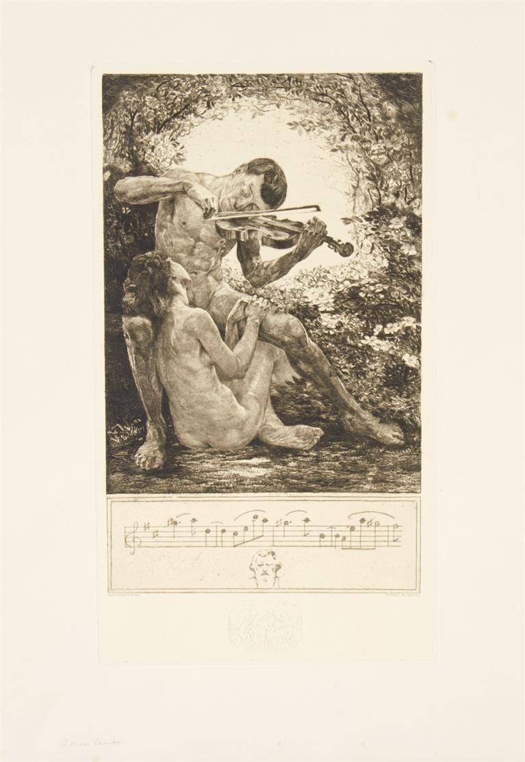 Bruno Heroux. Vae Solis. 1909/14. Mappe mit Tit. + 8 Bll. Radierungen / dazu: 1 Variante + Frühling. 2 Blatt Radierungen.
