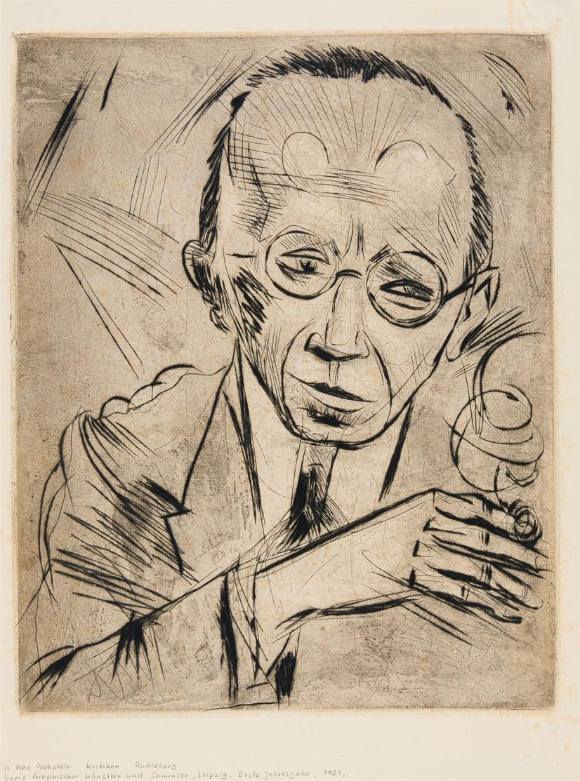Hermann Max Pechstein. Der Kritiker (Dr. Paul Fechter). 1921. Kaltnadel u. Pinselätzung. Eines von 150 unsign. Ex. Krüder R.124.