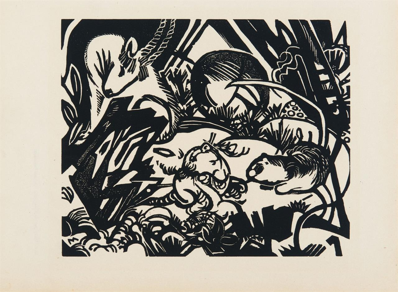 Franz Marc. Tierlegende. (1912). Holzschnitt. Auflagedruck m. rücks. Typendruck.