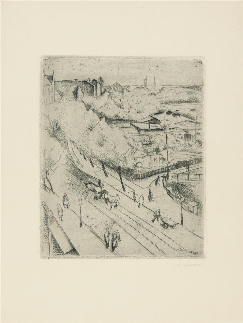 Franz Nölken. Frauenbildnis / Weiblicher Akt / Straßenszene. 1915/1916. 3 Blatt Radierungen, dav. 1 signiert.