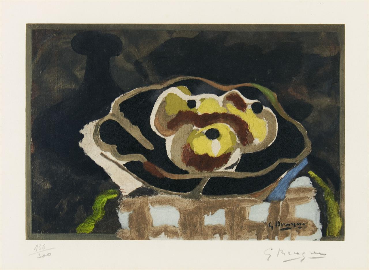 Georges Braque. Nature morte aux pommes. Farb-Collotypie nach eine Gemälde von Braque. Signiert. Ex. 136/300. Nicht bei Vallier.