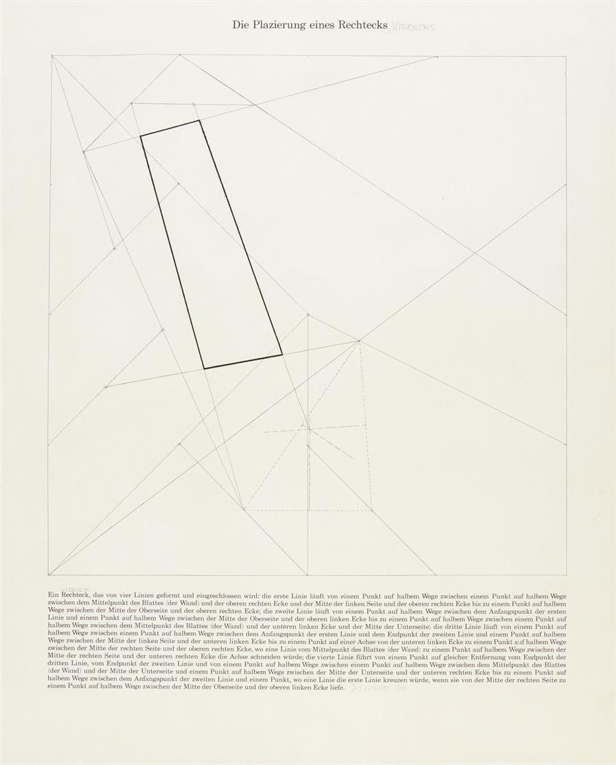 Sol Lewitt. Die Platzierung eines Vierecks. 1975. Radierung. Signiert. Ex. 1/50.