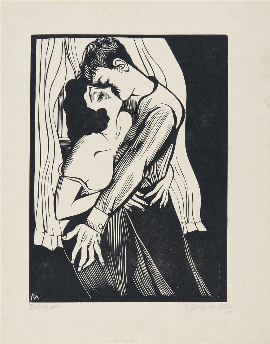 Conrad Felixmüller. Der Kuss. 1930 (1931). Holzschnitt. Signiert. Söhn 392, wohl b.