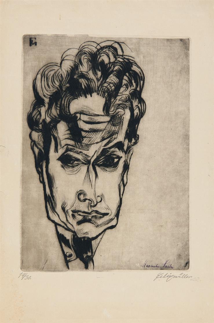 Conrad Felixmüller. Bildnis Maximilian Harden. 1921. Kaltnadelradierung. Signiert. Ex. 14/30. Söhn 274 b.