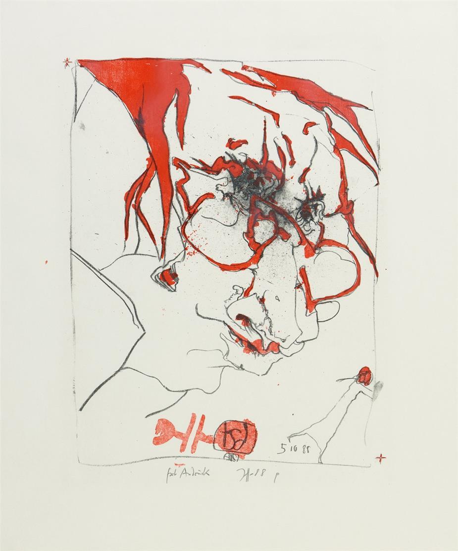 Horst Janssen. Selbst. 1988. Farblithographie. Signiert. Farbandruck.