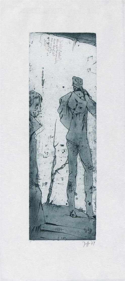 Horst Janssen. Die Welt ist verkehrt. 1974. Aquatintaradierung. Signiert. Probeex. Frielinghaus 1974, 19.