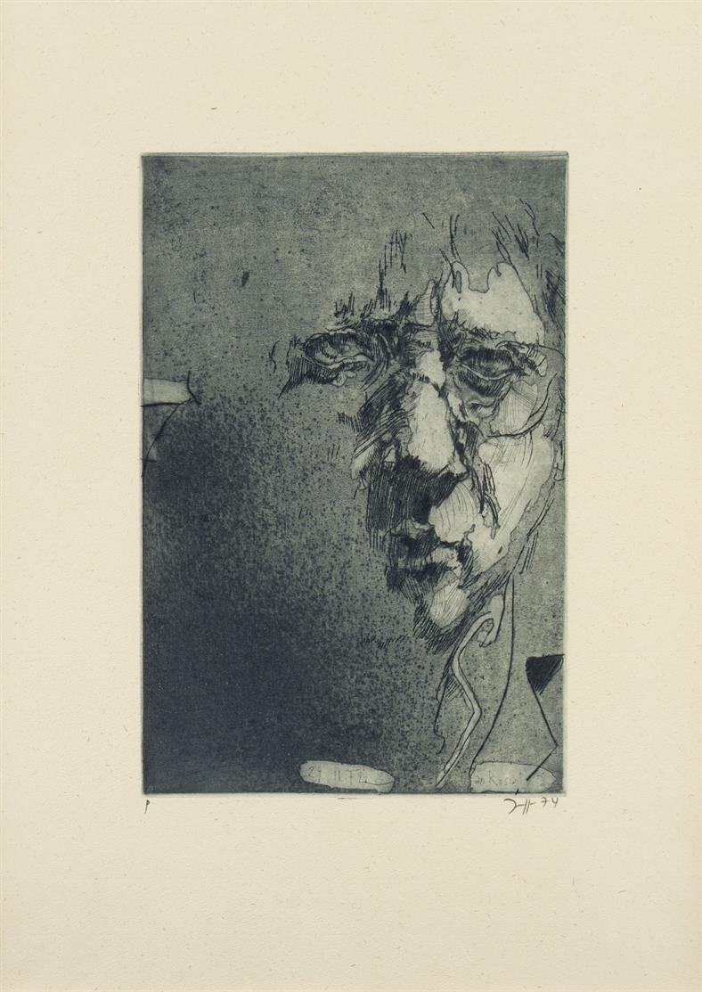 Horst Janssen. An Roswitha, Selbstbildnis 29.10.72 1972 (1974) / Selbstbildnis 28 11 72. 1972 (1973). 2 Blatt Radierungen. Jeweils signiert. Probeexemplare.