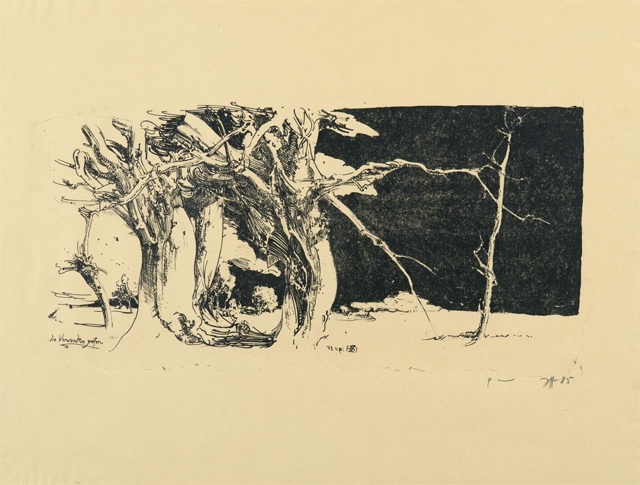 Horst Janssen. Die Verwandten greifen.1985. Lithographie. Signiert. Probeexemplar.