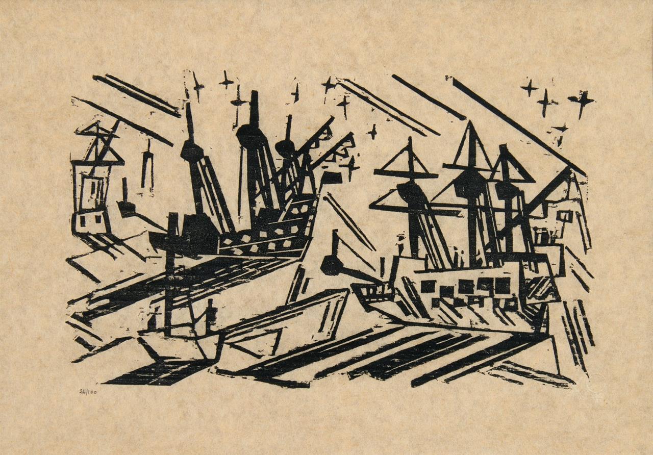 Lyonel Feininger. Schiffe und Sterne. 1919/64. Holzschnitt, posthumer Abzug. Ex. 26/100. Prasse W 178.