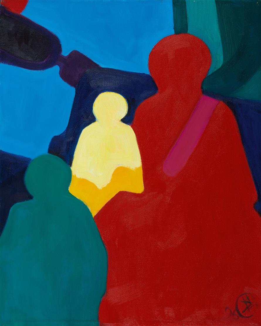 Robert Hammerstiel. Mutter mit Kindern. 1996. Öl auf Leinwand. Monogrammiert.