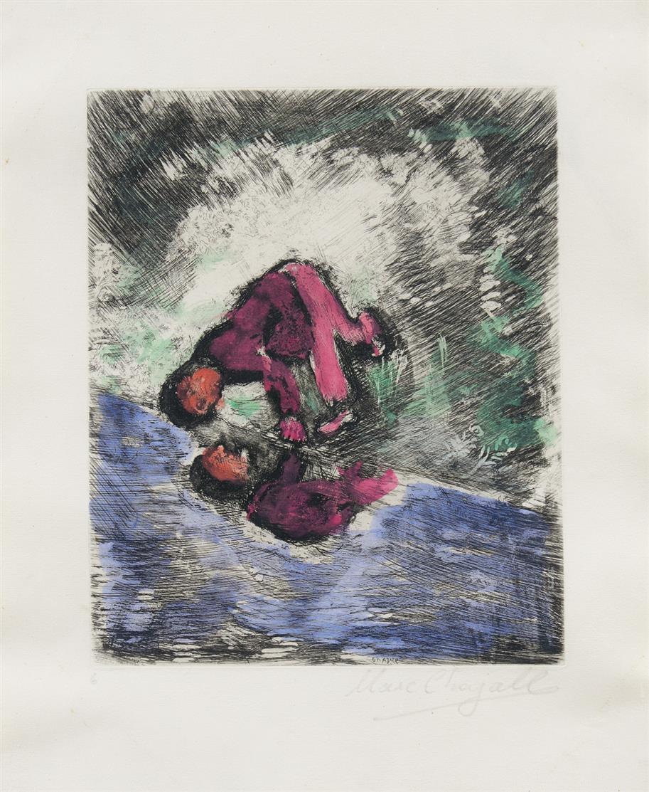 Marc Chagall. Aus: Jean de la Fontaine, Fables. 1952. Kolorierte Radierung. Signiert. Ex. 6. Aus Cramer 22.
