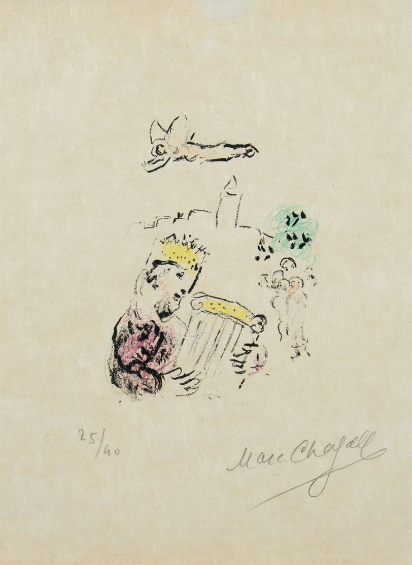Marc Chagall. Der König David. 1974. Farblithographie. Signiert. Ex. 25/40. Sorlier 721.