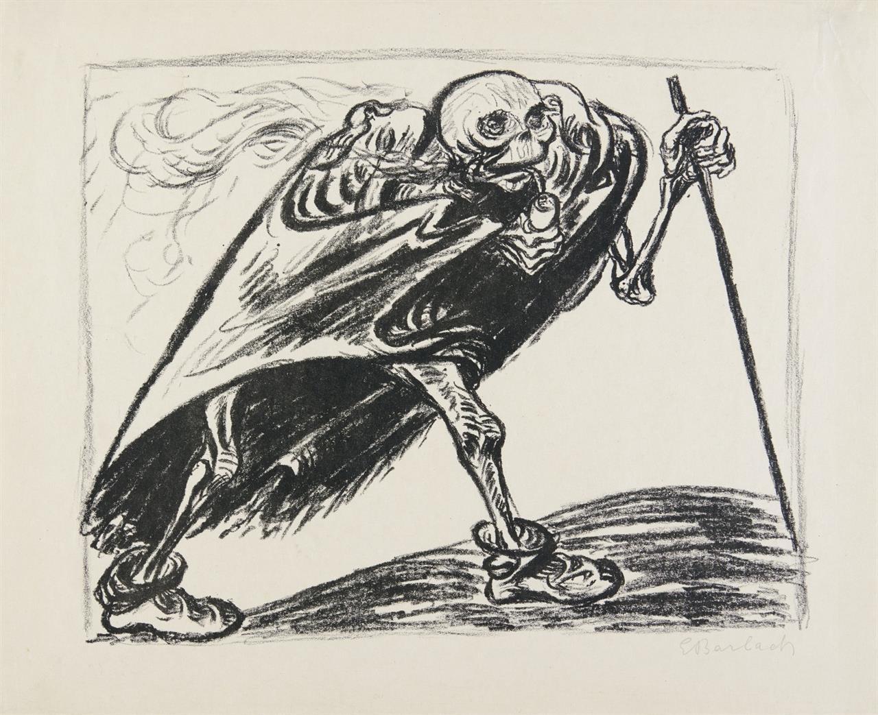 Ernst Barlach. Wandernder Tod. 1923. Lithographie. Eines von 100 signierten Ex. Schult. 225.