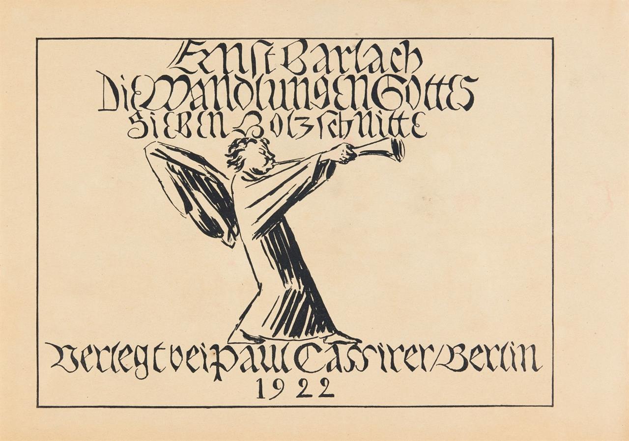 Ernst Barlach. Die Wandlungen Gottes. Einfache Ausgabe. Mappe mit Titelbl., Inh.bl., 7 Blatt Holzschnitte.