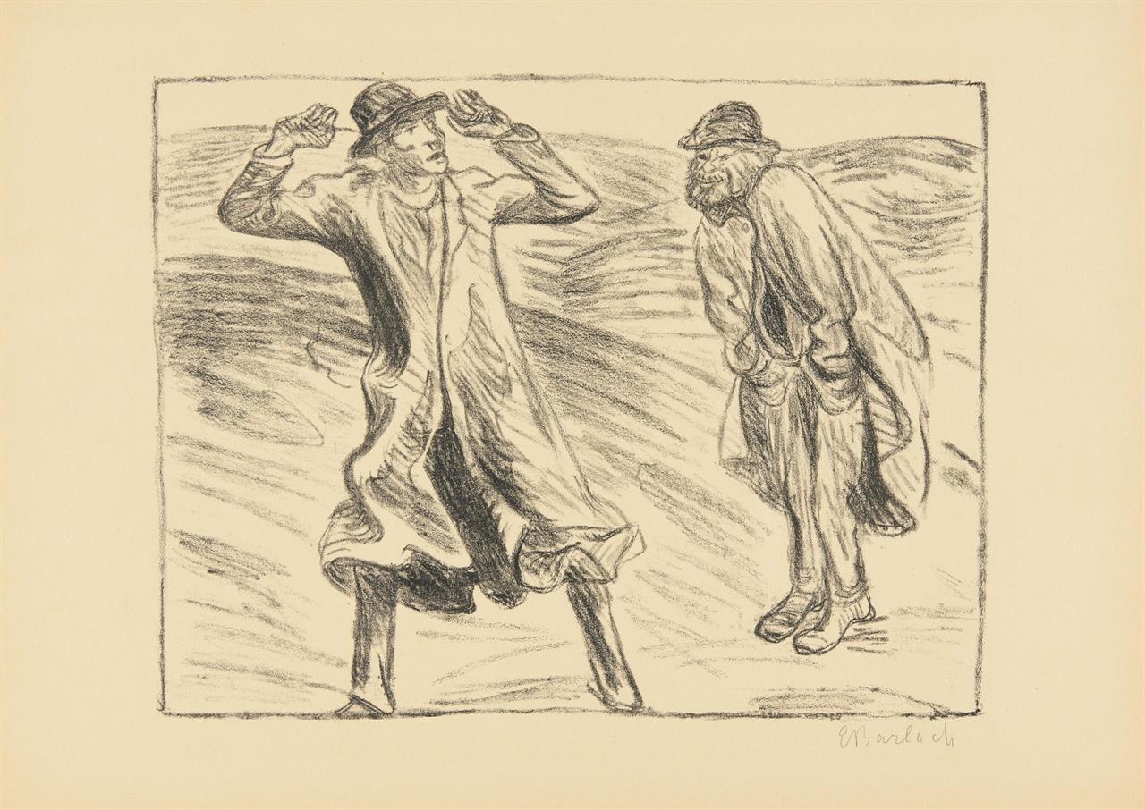 Ernst Barlach. Ungleiches Paar / Die Raucherin / Gespräch vor Tisch. 1919. 3 Blatt Lithographien aus