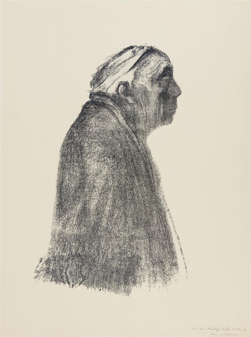 Käthe Kollwitz. Selbstbildnis im Profil nach rechts. 1938(?). Lithographie. Nachlassvermerk von Hans Kollwitz. v.d.K. 273 III b/c.