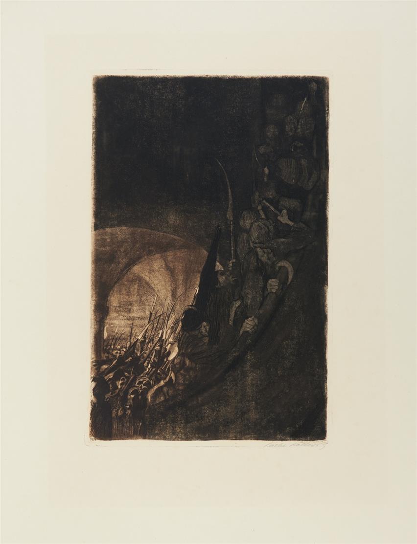 Käthe Kollwitz. Bewaffnung im Gewölbe. 1906 (1921). Zweifarbige Radierung. Signiert. v.d.K. 96 VIII b.