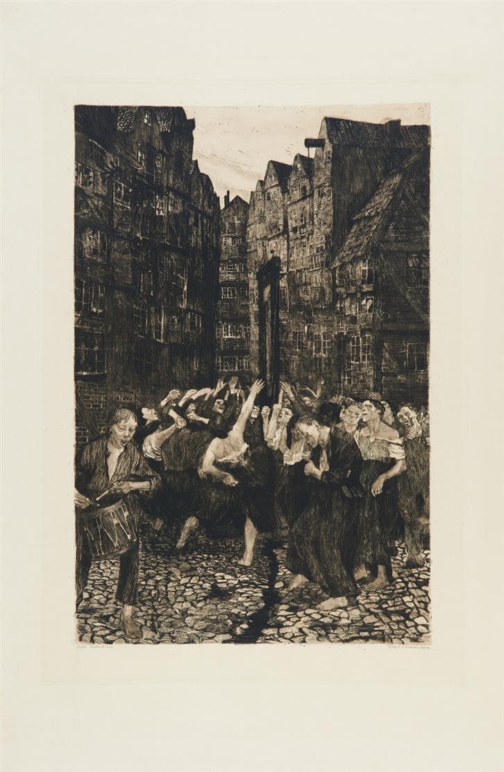 Käthe Kollwitz. Die Carmagnole. 1901. Strichätzung, Aquatinta, Kaltnadel. v.d.K. 51 IX.
