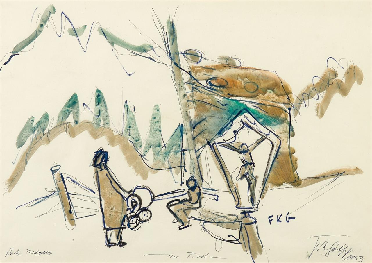 Friedrich Karl Gotsch. In Tirol. 1953. Aquarell und Tusche. Monogrammiert.
