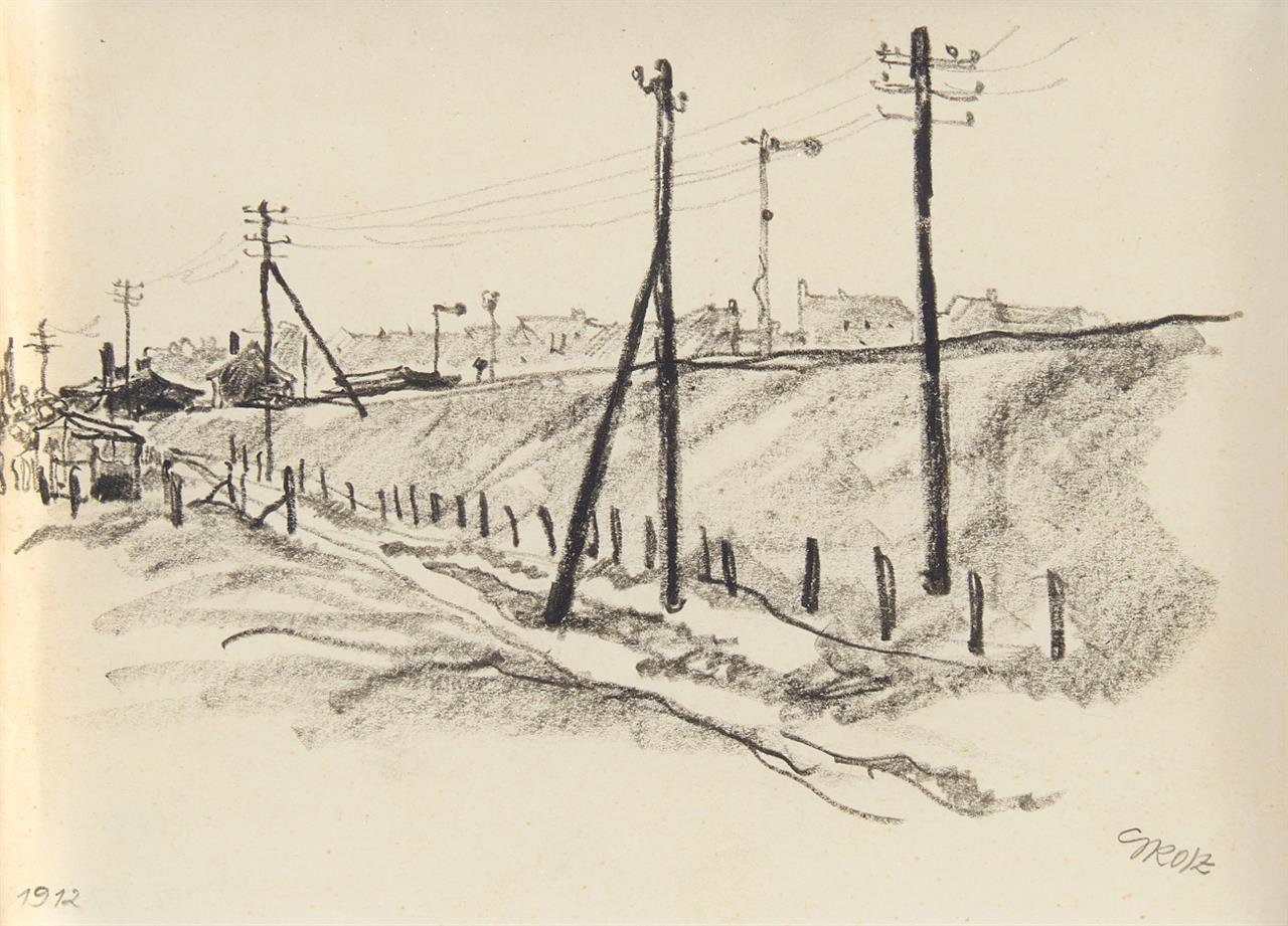 George Grosz. Eisenbahnlinie. 1912. Kohlestift. Signiert.