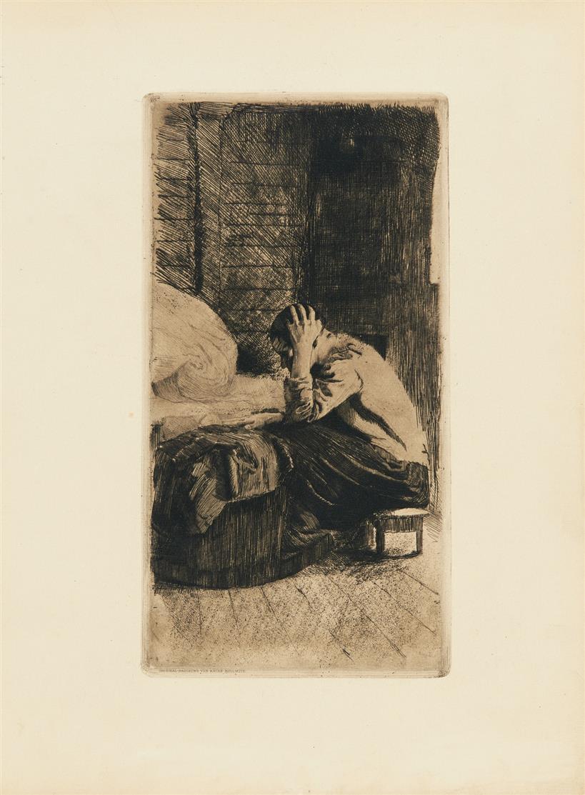 Käthe Kollwitz. Frau an der Wiege. 1897(?). Strichätzung, Kaltnadel. v.d.K. 40 IV a/b.